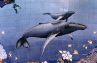 HUMPBACK & CALF - TILE MURAL AND MOSAIC  REEF POOL ( detail)